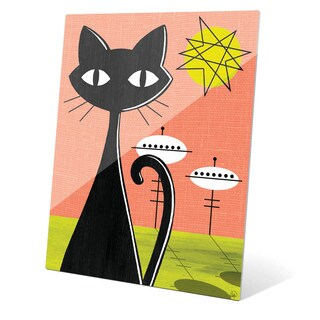 'Retro Red And Yellow Space Colony Cat' Glass Wall Graphic Art