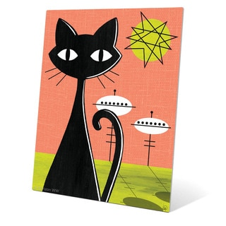 'Retro Red And Yellow Space Colony Cat' Metal Wall Graphic