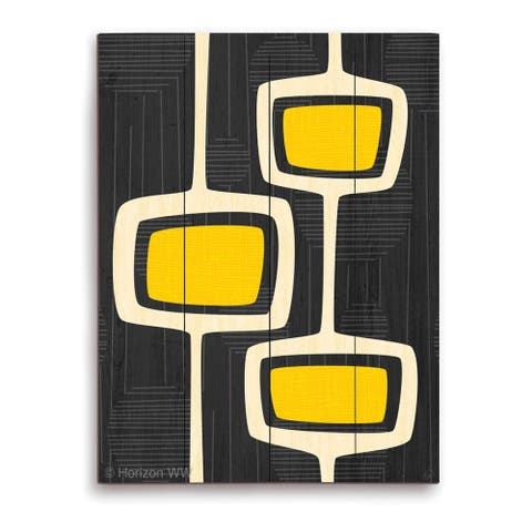 'Retro Yellow Bubble Towers' Wall Graphic on Wood
