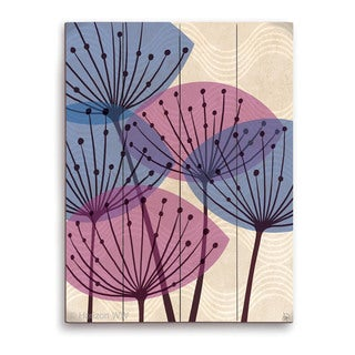 'Retro Purple And Blue Water Fronds' Wall Graphic on Wood
