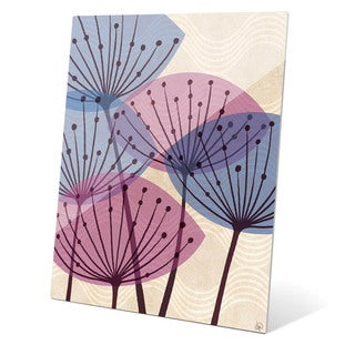 'Retro Purple and Blue Water Fronds' Wall Graphic on Acrylic