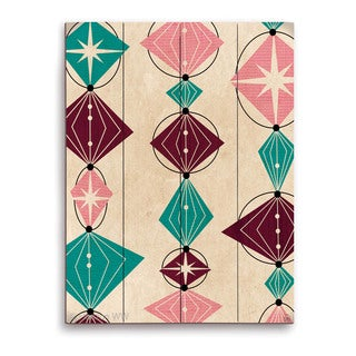 'Retro Teal And Pink Bead String' Wood Wall Graphic