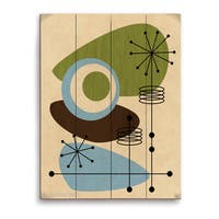'Retro Green and Blue All Seeing Eye' Wall Graphic on Wood