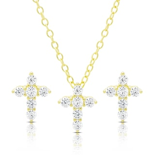 Dolce Giavonna Gold Over Silver or Sterling Silver Cubic Zirconia Cross Necklace and Earrings Set