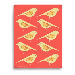 'Retro Birds Vermillion' Wall Graphic on Wood