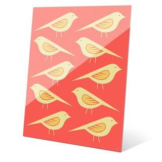 'Retro Birds Vermillion' Acrylic Wall Graphic Art