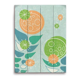 'Retro Mid Century Orange and Green Flowers' Wall Graphic on Wood