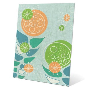'Retro Mid-century Orange and Green Flowers' Wall Graphic on Metal