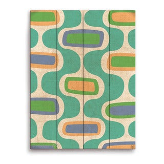 'Retro Teal Curves' Wooden Wall Graphic