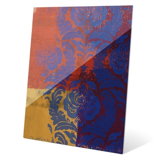 'Royal Blue Damask' Wall Graphic on Glass