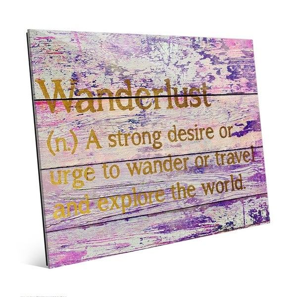 'Wanderlust Definition - Gold' Wall Graphic on Glass