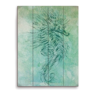 'Turquoise Seahorse' Wood Wall Graphic