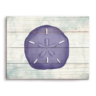 'Rustic Sand Dollar Iris' Wooden Wall Graphic