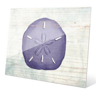 'Rustic Sand Dollar Iris' Purple Wall Graphic on Glass