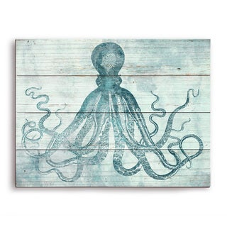 'Vintage Octopus Ocean Blue' Wall Graphic on Wood