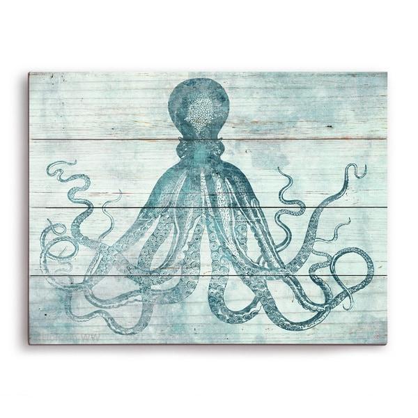 'Vintage Octopus Ocean Blue' Wall Graphic on Wood
