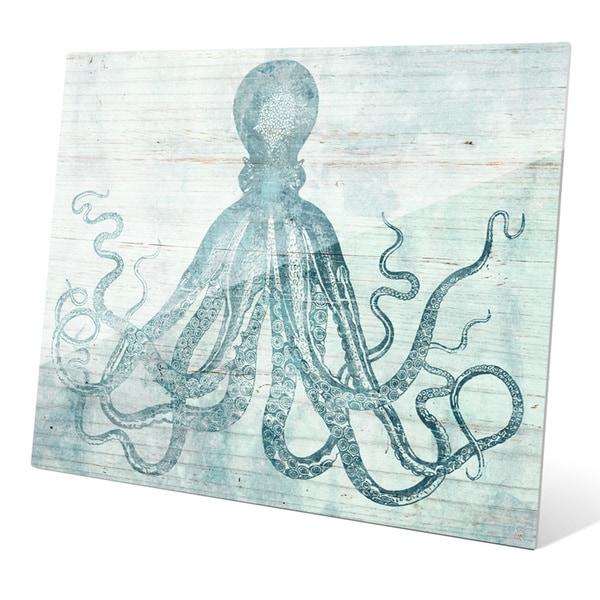 'Vintage Octopus Ocean Blue' Acrylic Wall Graphic