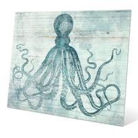 'Vintage Octopus Ocean Blue' Metal Wall Graphic