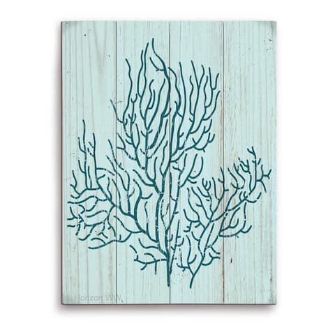 'Coral Silhouette Blue' Wall Graphic on Wood