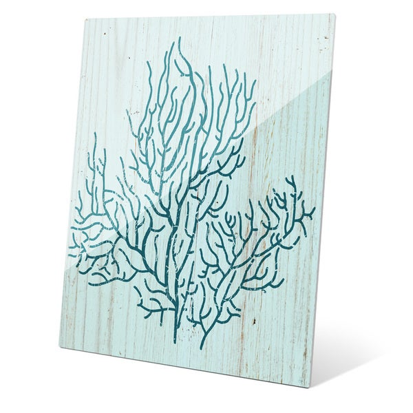 'Coral Silhouette Blue' Glass Wall Graphic