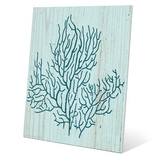 'Coral Silhouette Blue' Wall Graphic on Metal