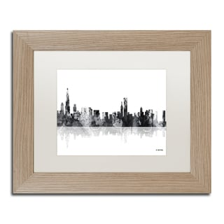 Marlene Watson 'Chicago Illinois Skyline BG-1' Matted Framed Art