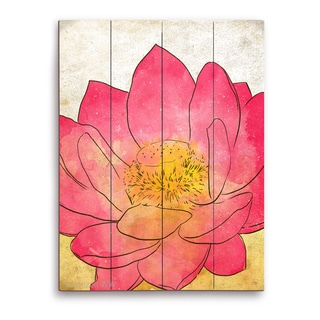 Pink Lotus - Grunge' Multicolored Wood Wall Graphic