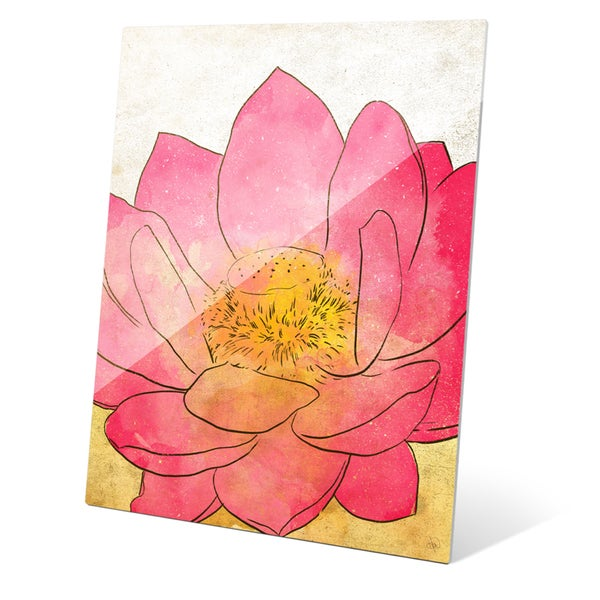 'Pink Lotus' Grunge Wall Graphic on Glass