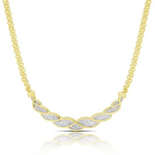 Finesque Gold or Rose Gold Overlay Diamond Accent Chevron Necklace