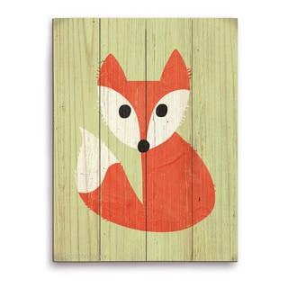 'Little Fox Summer' Handcrafted Wall Graphic on Wood