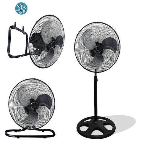 Black Metal Large 18-inch Premium High-velocity Oscillating Industrial Stand-mount Floor Fan