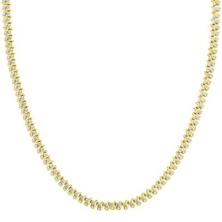 Finesque Gold Overlay 1/10ct TDW Diamond S Necklace