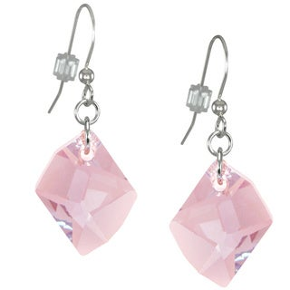 Jewelry by Dawn Large Pink Swarovski Cosmic Crystal Sterling Silver Earrings