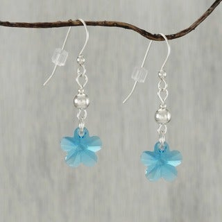Jewelry by Dawn Aquamarine Crystal Flower With Bead Sterling Silver Earrings