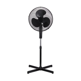 Black Metal 16-inch Modern High-velocity 3-speed Oscillating Adjustable Standing Floor Fan