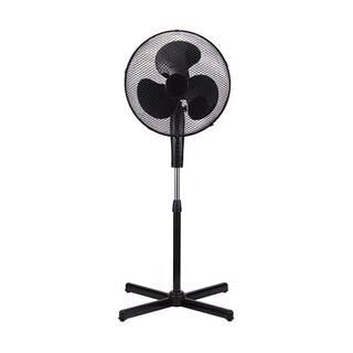 Black Metal 16-inch Modern High-velocity 3-speed Oscillating Adjustable Standing Floor Fan