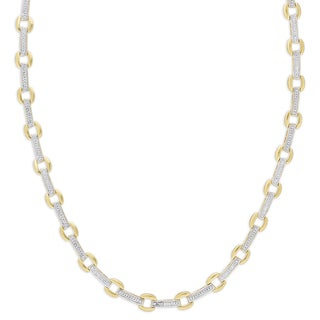 Finesque Gold Over Sterling Silver .08ct TDW Diamond Square Link Necklace (I-J, I2-I3)