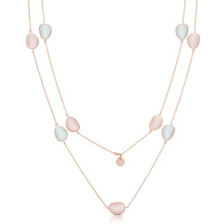 Samantha Stone Rose Gold Over Sterling Silver Pink and Blue Simulated Cat's Eye Necklace
