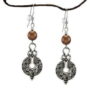 Jewelry by Dawn Copper Satin Glass Bead Vintage Style Pewter Earrings