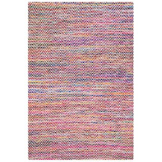 nuLOOM Handmade Flatweave Stiped Chevron Cotton Magenta Rug (2' x 3')