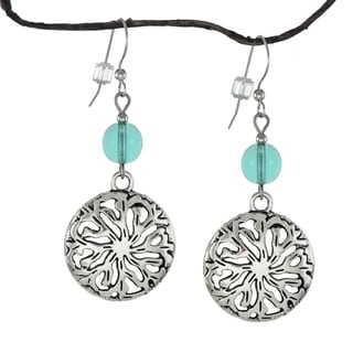 Jewelry by Dawn Light Aqua Pewter Medallion Earrings
