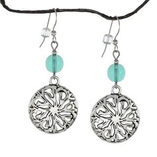 Jewelry by Dawn Light Aqua Pewter Medallion Earrings