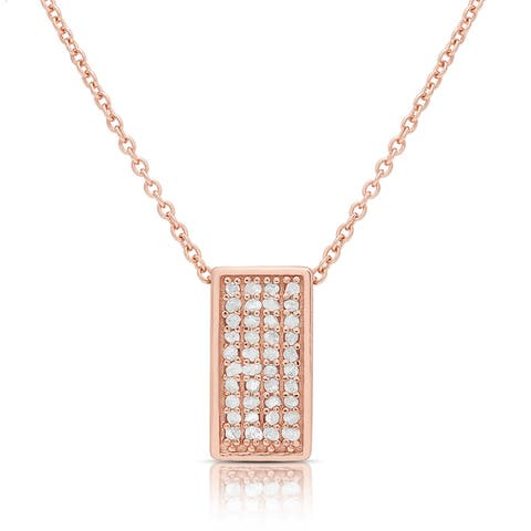 Finesque Gold over Silver or Sterling Silver 1/4ct Diamond Rectangle Necklace