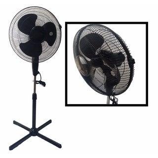LavoHome Quiet Black 16-inch 3-speed Oscillating Adjustable-height Standing Floor Fan