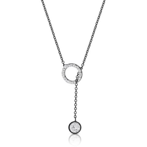 Finesque Gold Over Silver or Sterling Silver Diamond Accent Circle Lariat Design Necklace