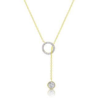 Finesque Gold Over Silver or Sterling Silver Diamond Accent Circle Lariat Design Necklace (Option: Black)