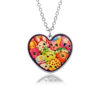 Shopkins Chidren's Group Heart Pendant with Mixed Characters Pendant, 18 inches (16 inches with 2 inch extension)