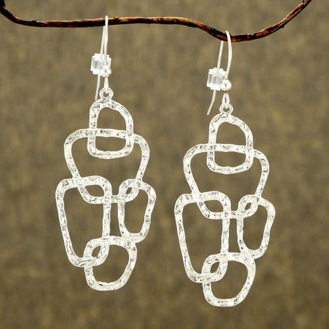Handmade Jewelry by Dawn Freeform Bright Silver Plated Hammered Earrings (USA)