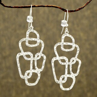 Jewelry by Dawn Freeform Bright Silver Plated Hammered Earrings
