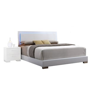 Acme Furniture White Lorimar Bed with Optional LED Light